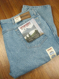 #307978. 52 34. INDIGO Retail $  46.00 Cotton Jean by WRANGLER. RELAXED FIT JEAN Whs A:  1 <BR><font size=2><b>Incl units held @ mfg.