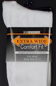 #055550.  . WHITE Retail $   9.00 Regular Sized Socks by EXTRA WIDE SOCK. EX-WIDE REG SZ DRESS Whs A:  8